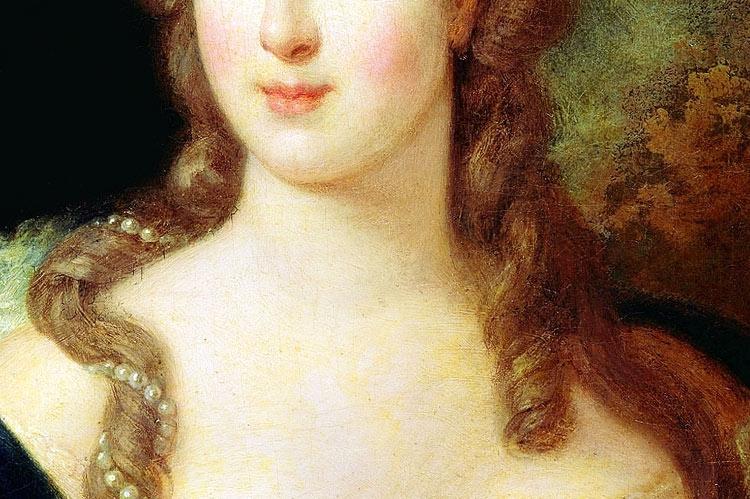 Marie Antoinette (detail) by Jean-Baptiste Gautier Dagoty, 1775