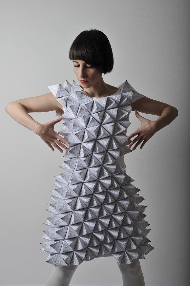 Amila Hrustic geometric paper dress