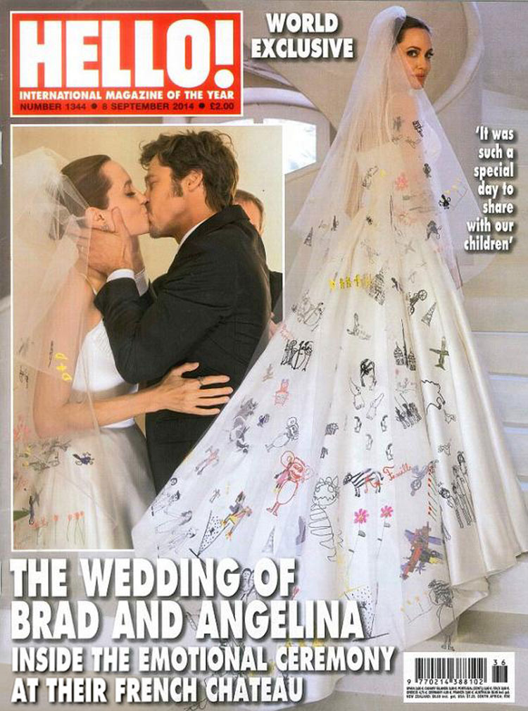 Angelina Jolie in her Atelier Versace wedding dress on the cover of Hello Magazine