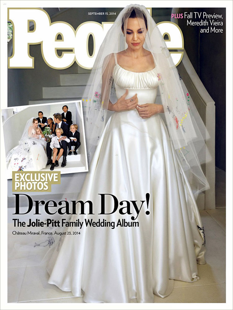 Angelina Jolie in her Atelier Versace wedding dress on the cover of People Magazine