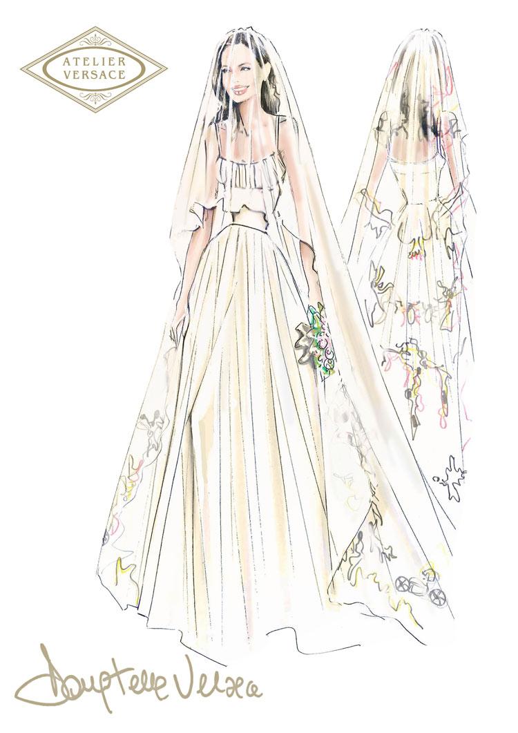 Sketch by Donatella Versace for Angelina Jolie's wedding dress