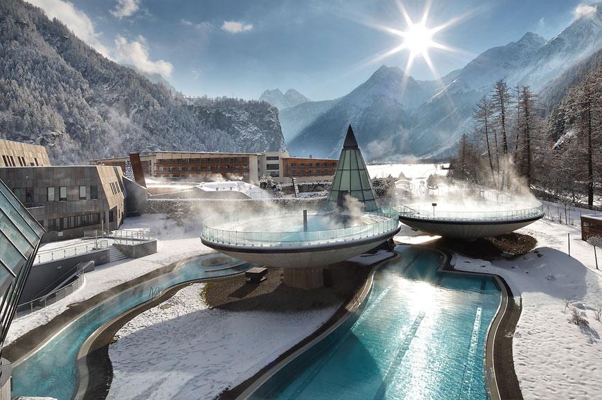 Futuristic pools, Aqua Dome Hotel, Längenfeld, Austria