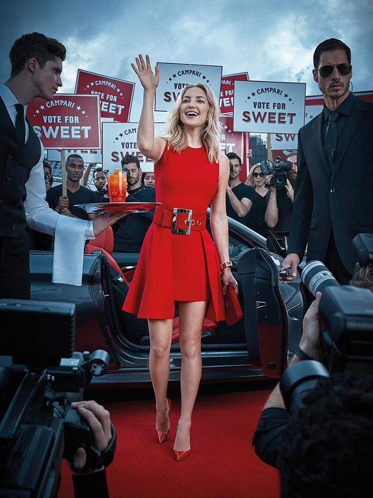 Kate Hudson wearing Versace for the 2016 Campari Calendar