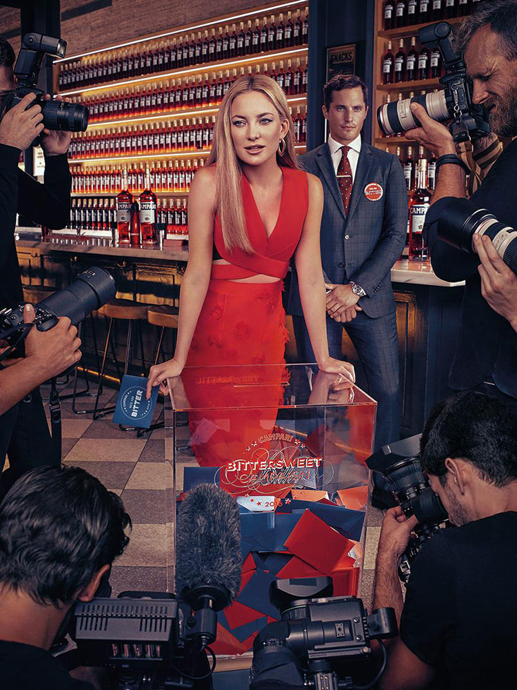 Kate Hudson wearing Roland Mouret for the 2016 Campari Calendar