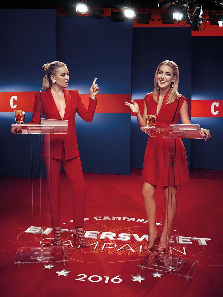 Kate Hudson wearing Cristiano Burani and Halston Heritage for the 2016 Campari Calendar