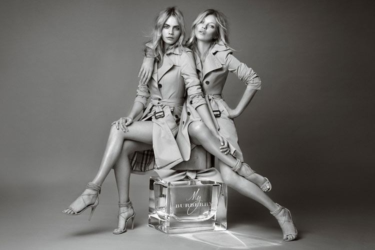 Cara Delevingne and Kate Moss for My Burberry fragrance