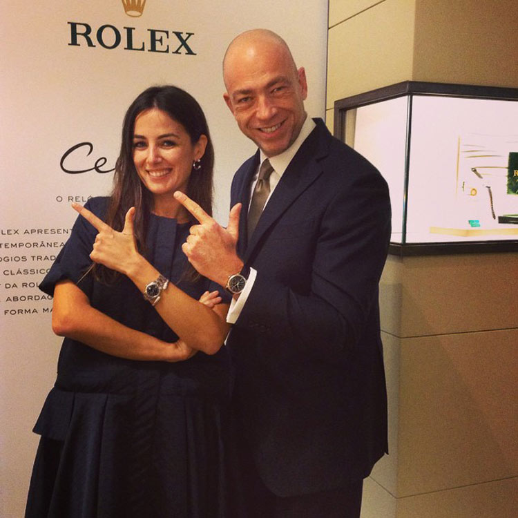 Helena Coelho and Ricardo Torres wearing Cellini watches by Rolex