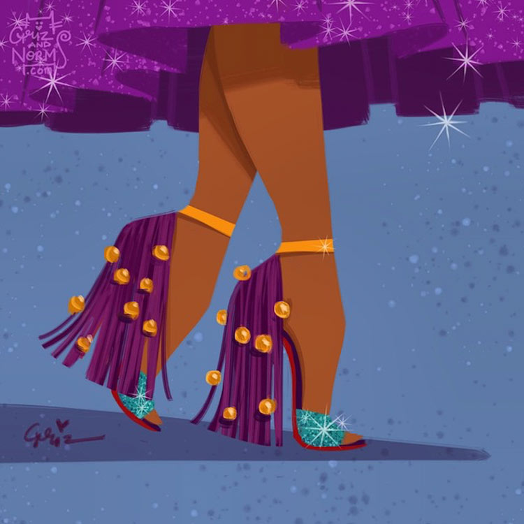 Esmeralda in a Christian Louboutin inspired design by Griz and Norm