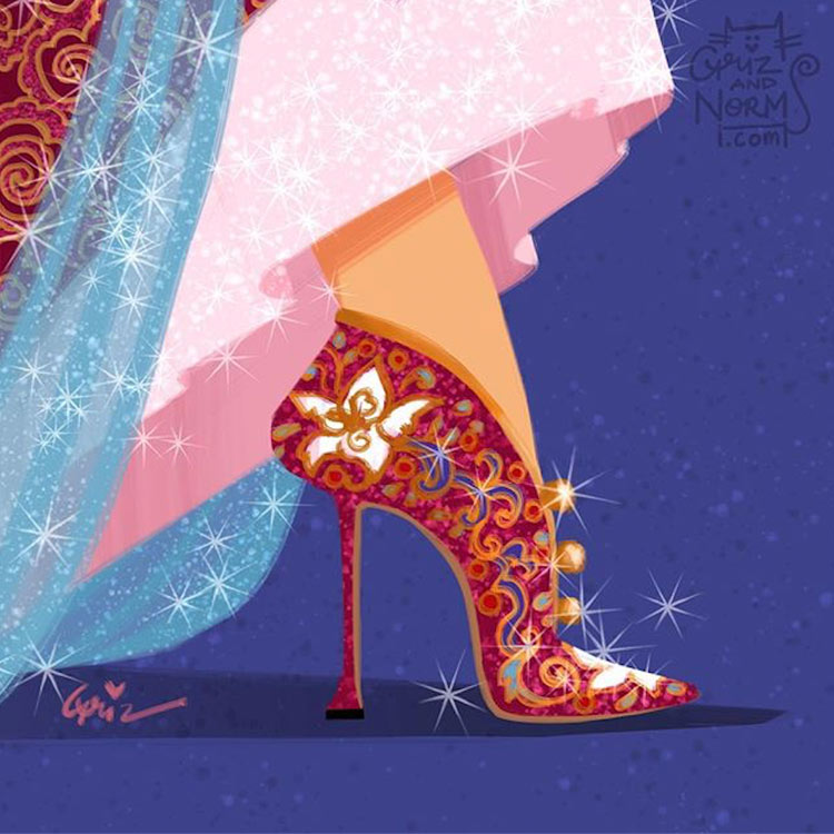 Mulan in a Manolo Blahnik inspired design by Griz and Norm
