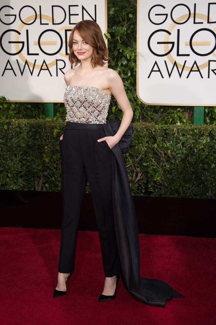 Emma Stone wearing Lanvin at the 2015 Golden Globe Awards