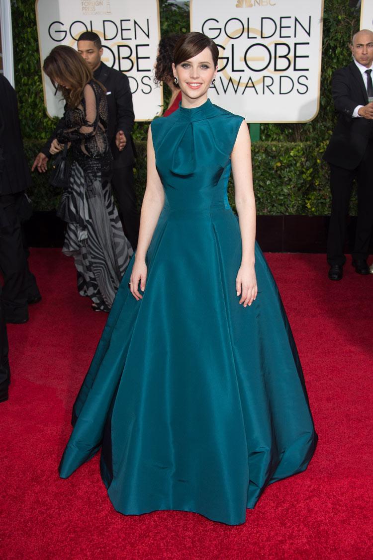 Felicity Jones wearing Dior Haute Couture at the 2015 Golden Globe Awards