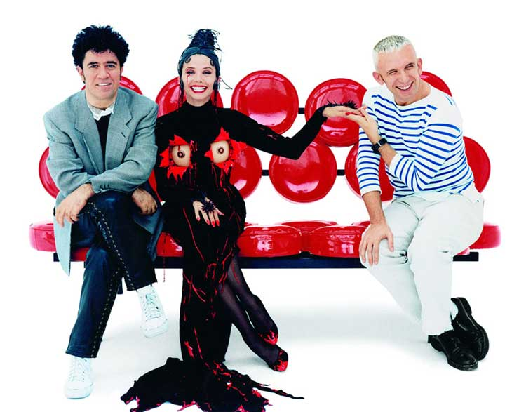 Pedro Almodóvar, Victoria Abril and Jean Paul Gaultier for the movie Kika, 1993