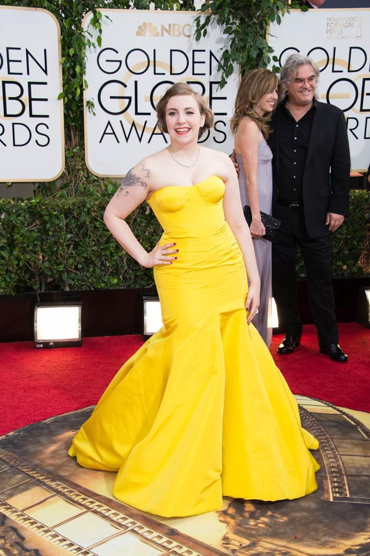 Lena Dunham in Zac Posen at the Golden Globes