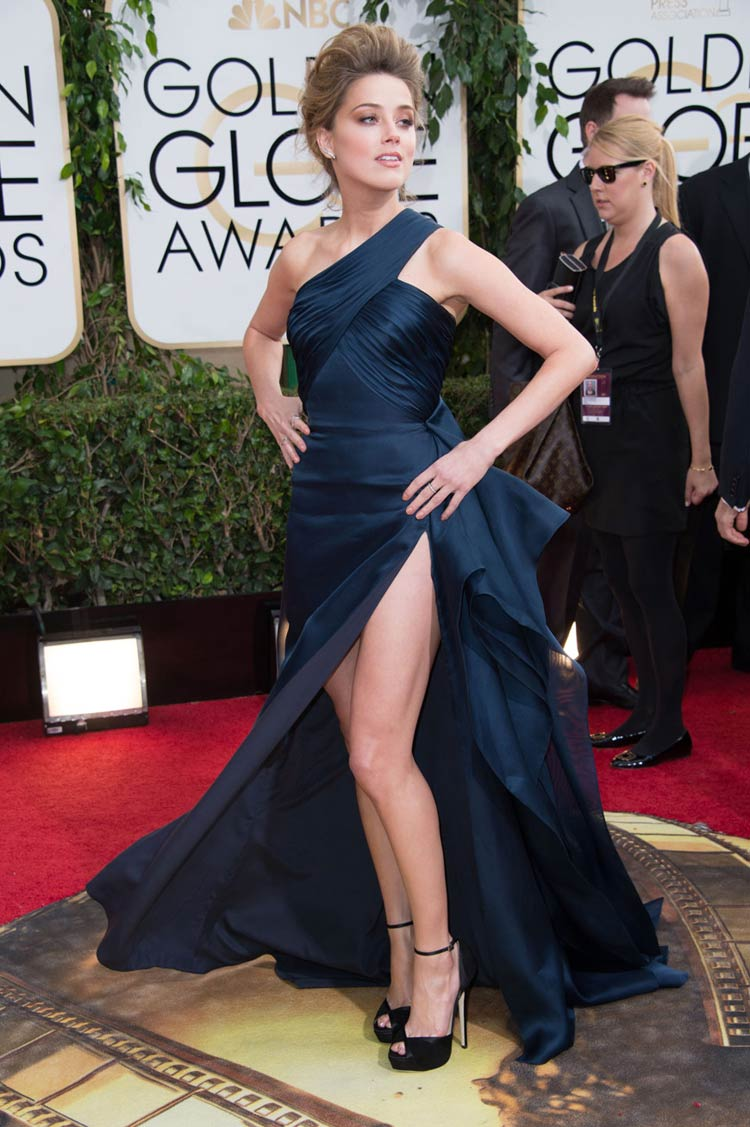 Amber Heard in Versace at the Golden Globes