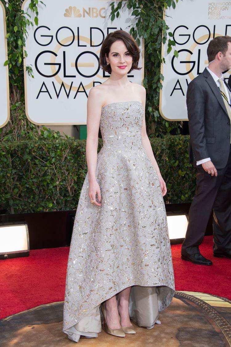 Michelle Dockery in Oscar De La Renta at the Golden Globes
