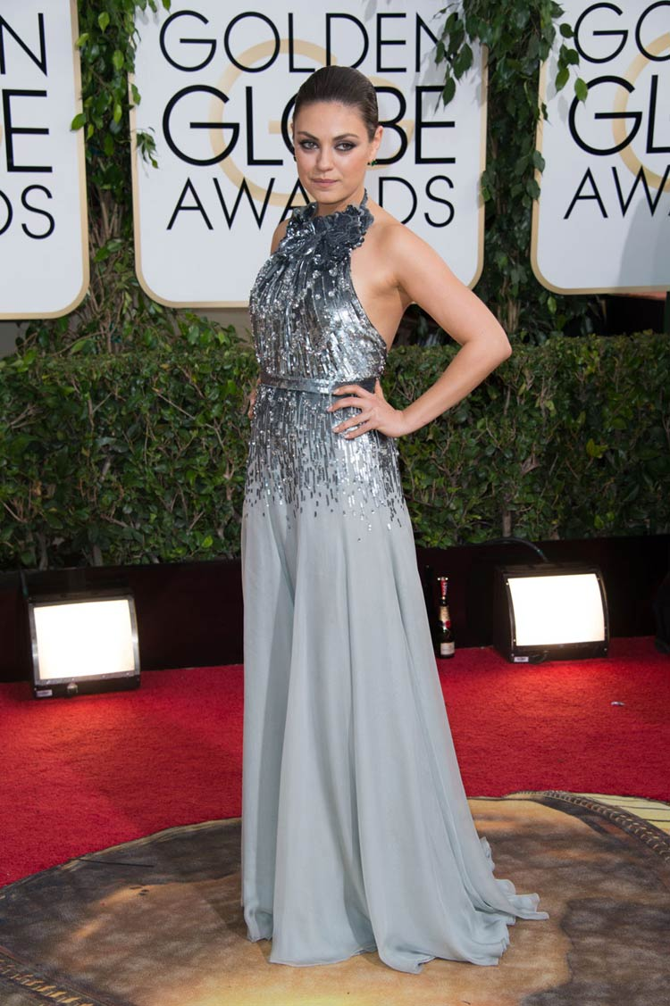Mila Kunis in Gucci at the Golden Globes