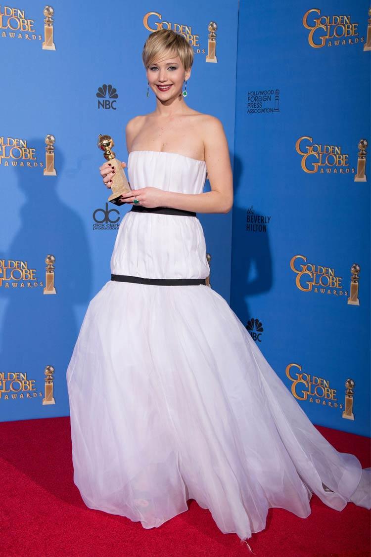 Jennifer Lawrence in Dior at the Golden Globes