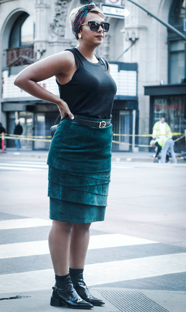 layered green skirt for an urban look
