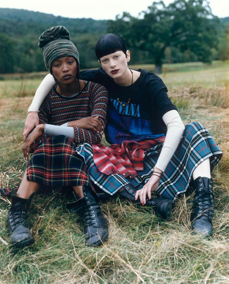 Naomi Campbell and Kristen McMenamy by Steven Meisel, Vogue US, December 1992