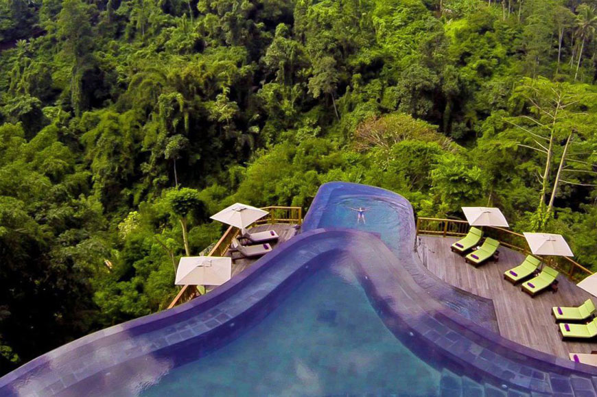Split-level infinity pool, Hanging Gardens Ubud Resort, Bali