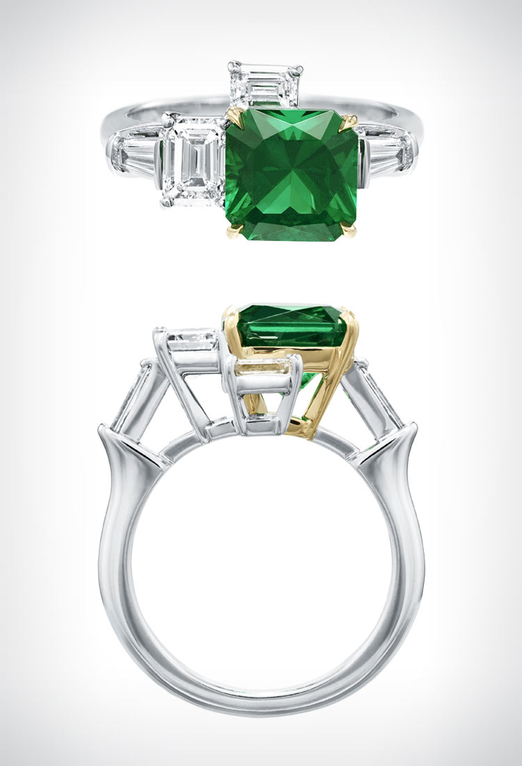 'Central Park' emerald and diamond ring by Harry Winston