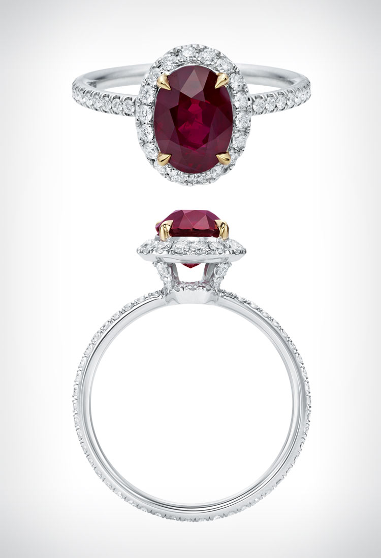 Oval-shaped ruby ring by Harry Winston