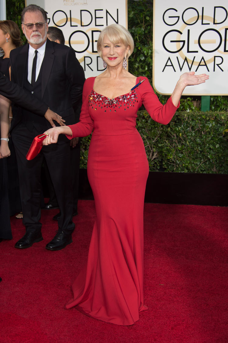 Helen Mirren at the 2015 Golden Globe Awards