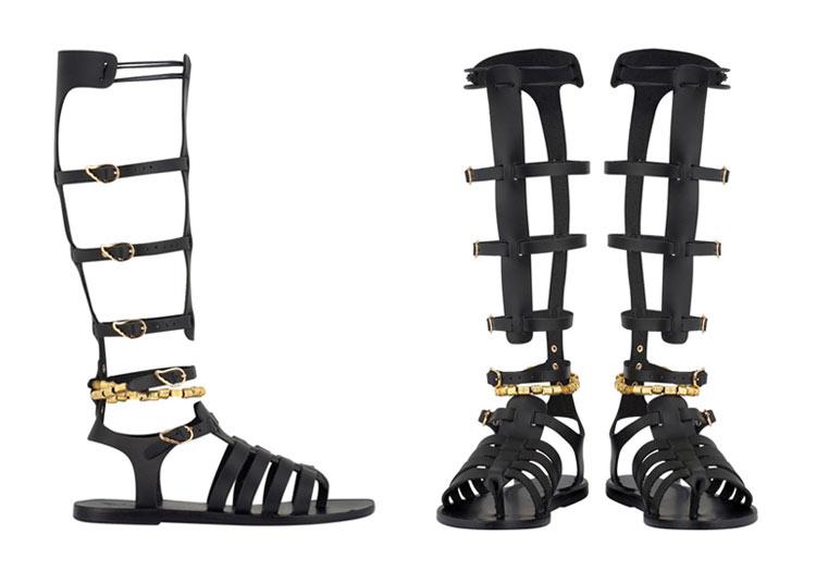 Iliada black sandals by Ancient Greek Sandals