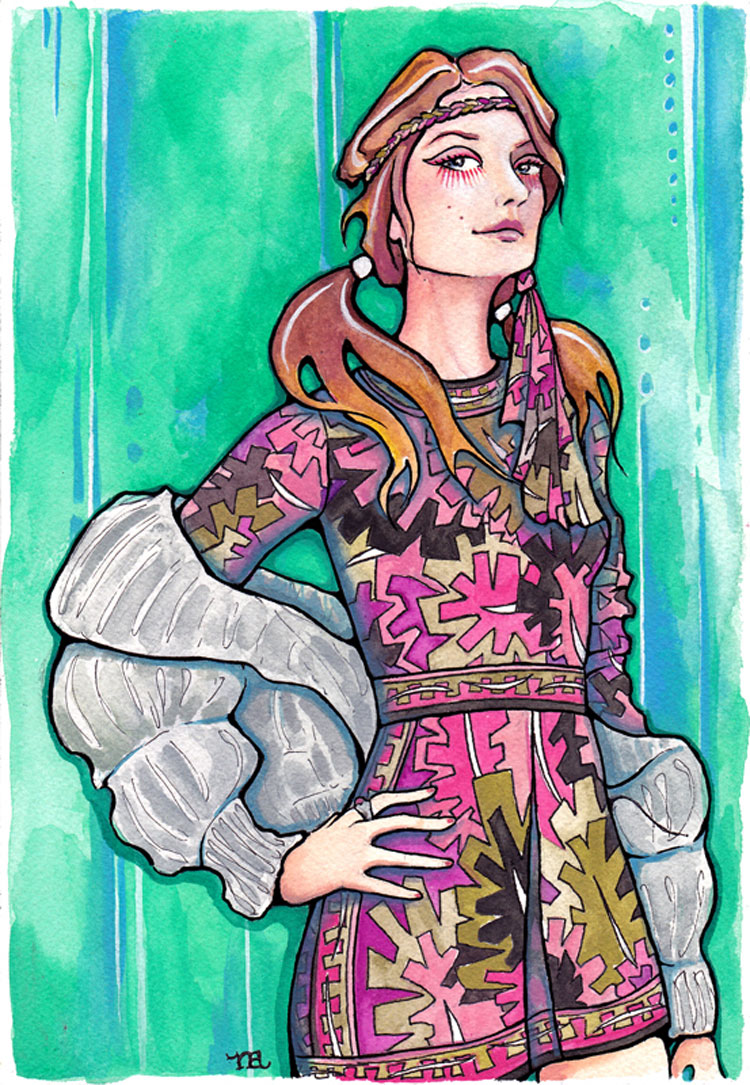 Naomi Schultz self portrait illustration wearing a vintage Pucci dress