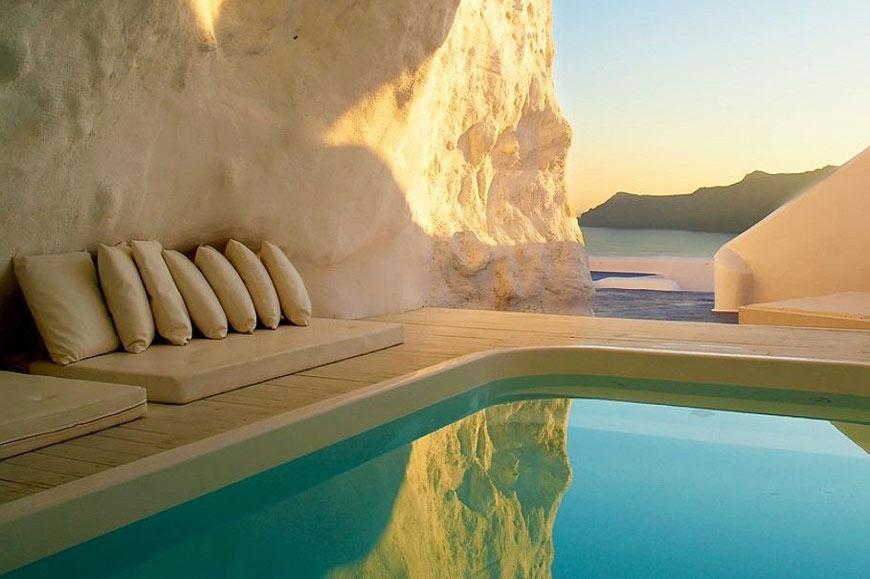Pool cave, Katikies Hotel, Santorini, Greece