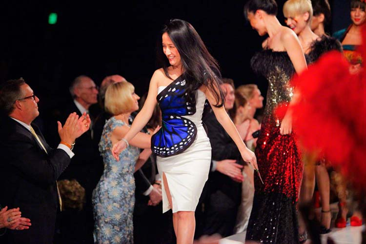 Luly Yang at the end of the runway show