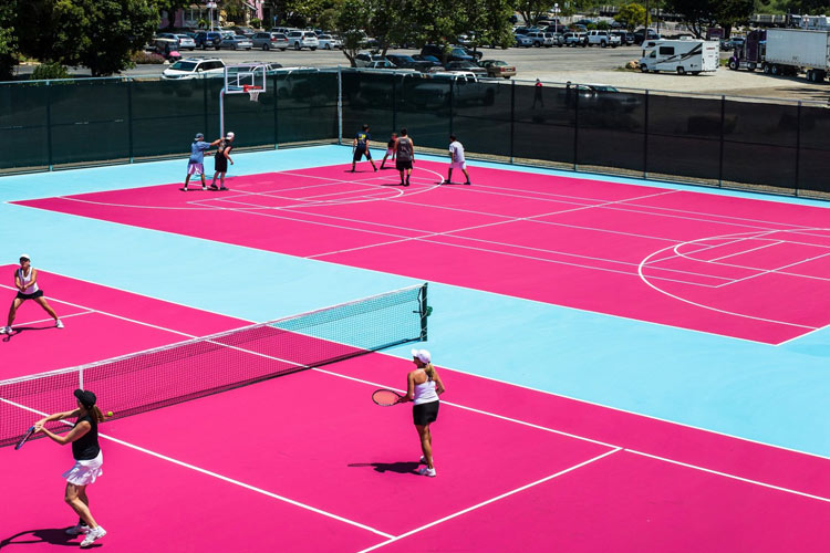 Tennis and Basketball courts at the Madonna Inn Hotel, California