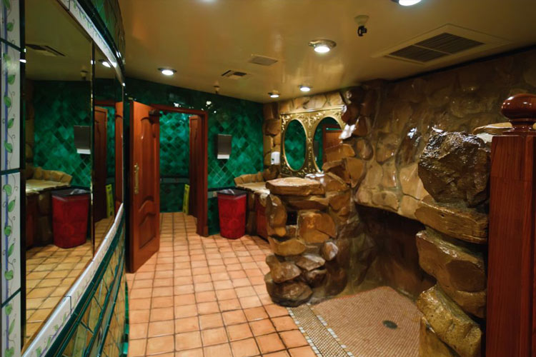 The famous waterfall urinal at the Madonna Inn Hotel, California