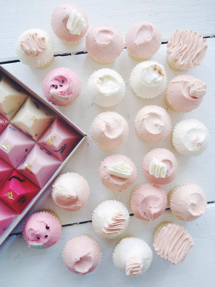 Pastel chocolates and cupcakes by Nectar & Stone
