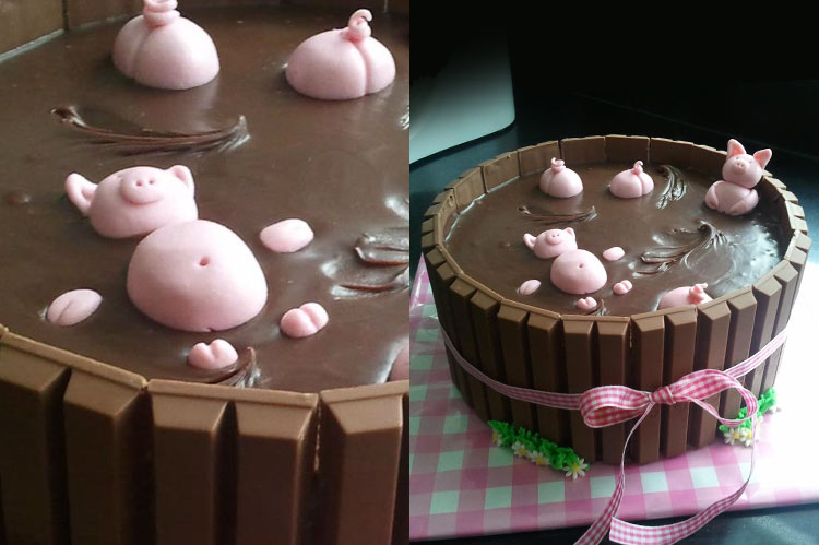 10 Small Cakes with Big Decorations: Pigs in the Mud Cake