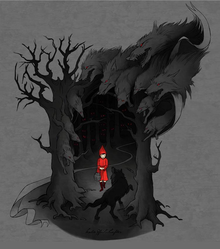 red riding hood illustration dark