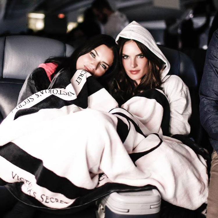 Adriana Lima and Alessandra Ambrosio on their way to the 2014 Victoria's Secret fashion show in London