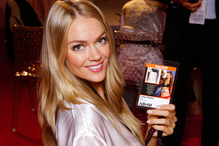 Lindsay Ellingson backstage at the 2014 Victoria's Secret fashion show