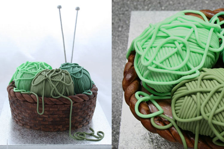 10 Small Cakes with Big Decorations: Knitting Basket Cake