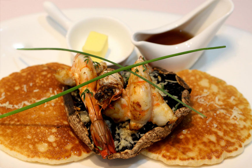 Batter Fluffy Flaps: Mushroom and Tiger Prawn Pancakes