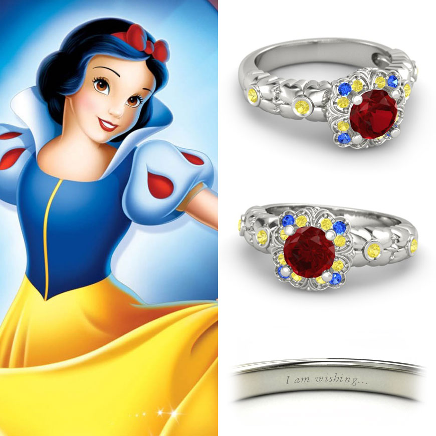 15 awesome disney engagement rings the little mermaid for Snow white wedding ring