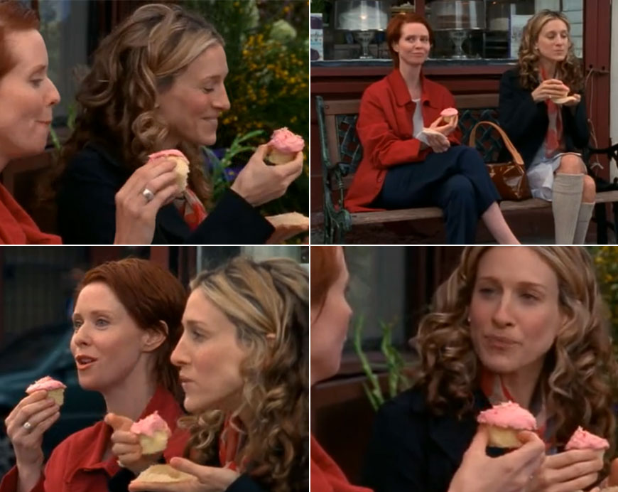 Carrie and Miranda in Sex and the City with Magnolia cupcakes