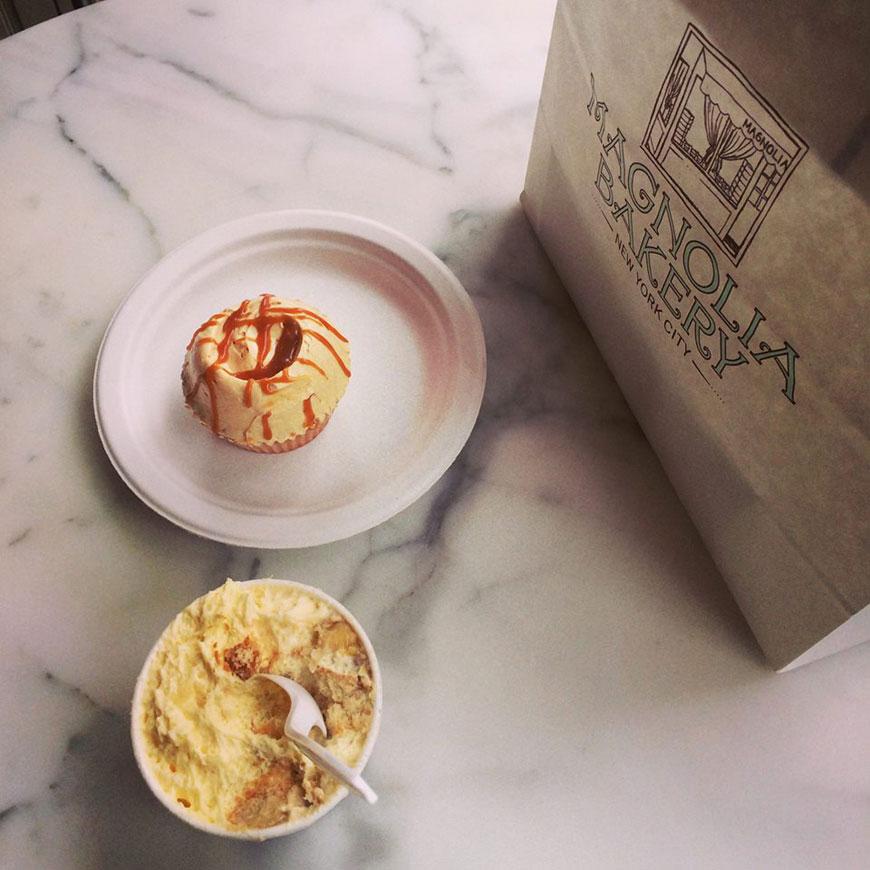 caramel cupcake and banana pudding, Magnolia Bakery