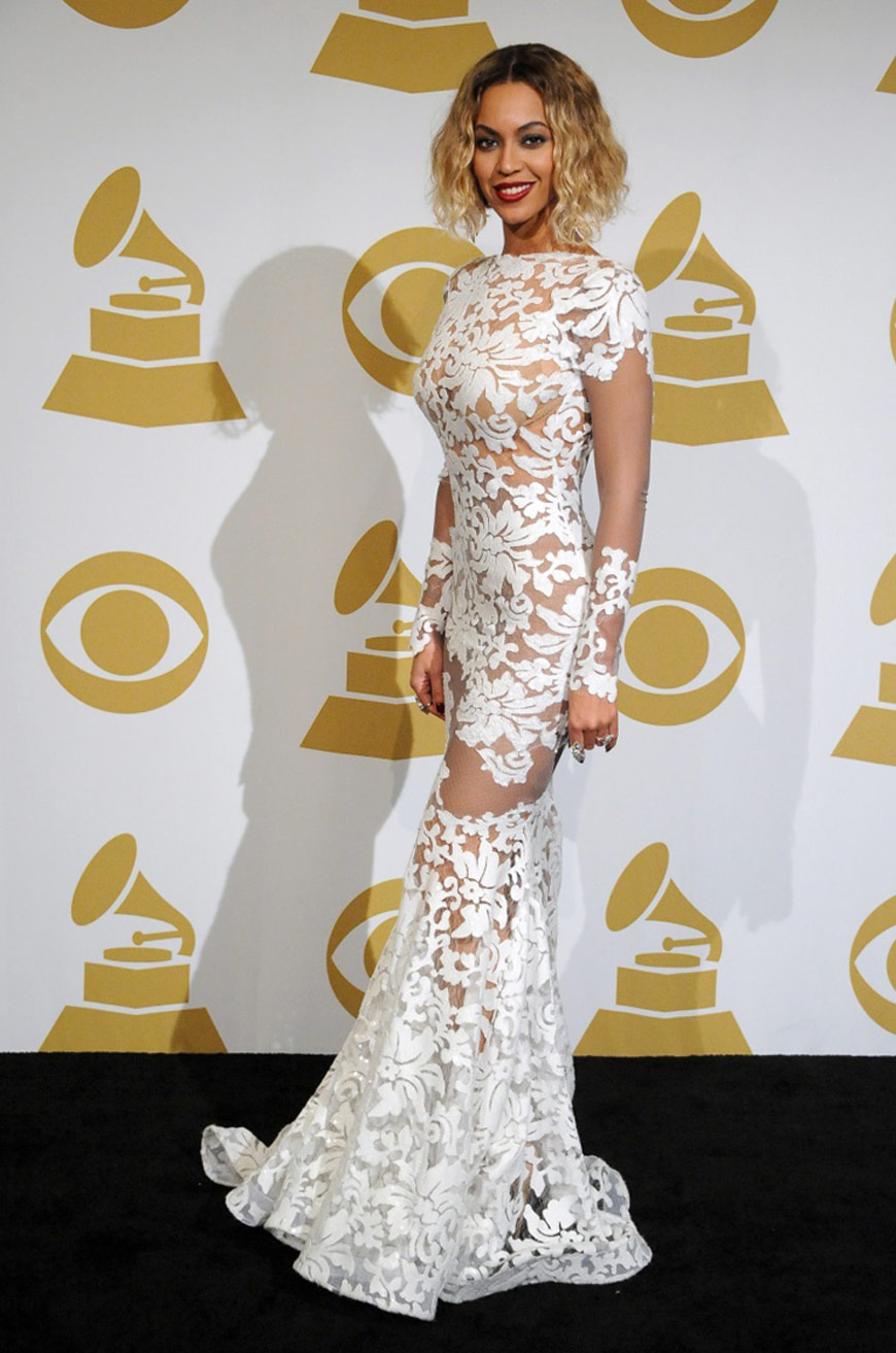 Beyoncé Knowles in Michael Costello at the Grammy Awards
