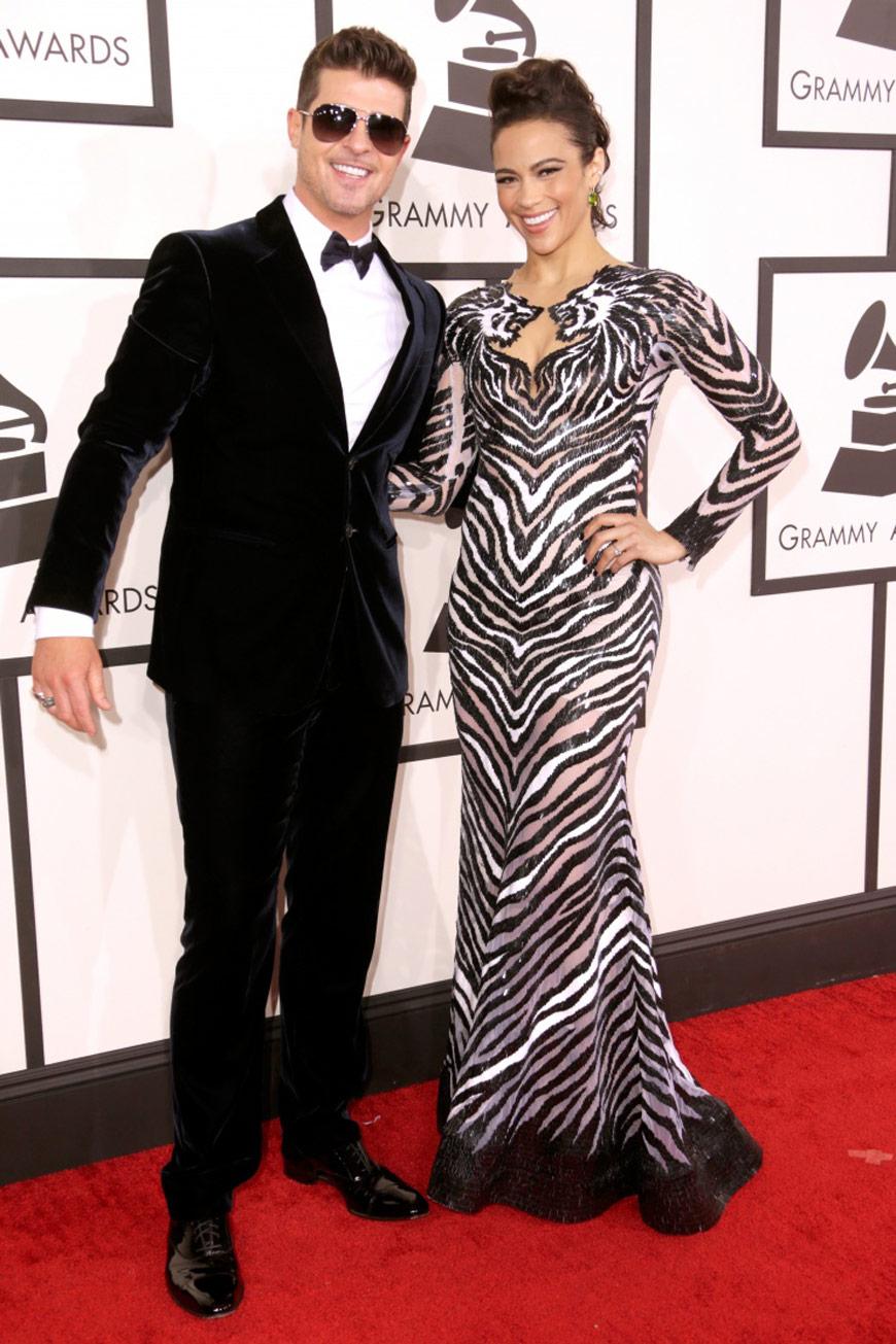 Robin Thicke in Giorgio Armani and Paula Patton in Nicholas Jebran at the Grammy Awards