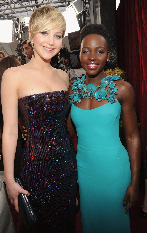 Jennifer Lawrence in Dior Couture and Lupita Nyong'o in Gucci at the SAG awards