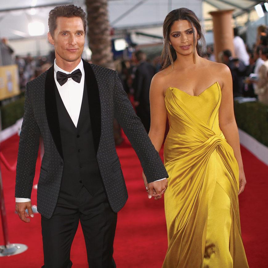 Matthew McConaughey in Dolce & Gabbana and Camila Alves in Donna Karan Atelier at the SAG awards