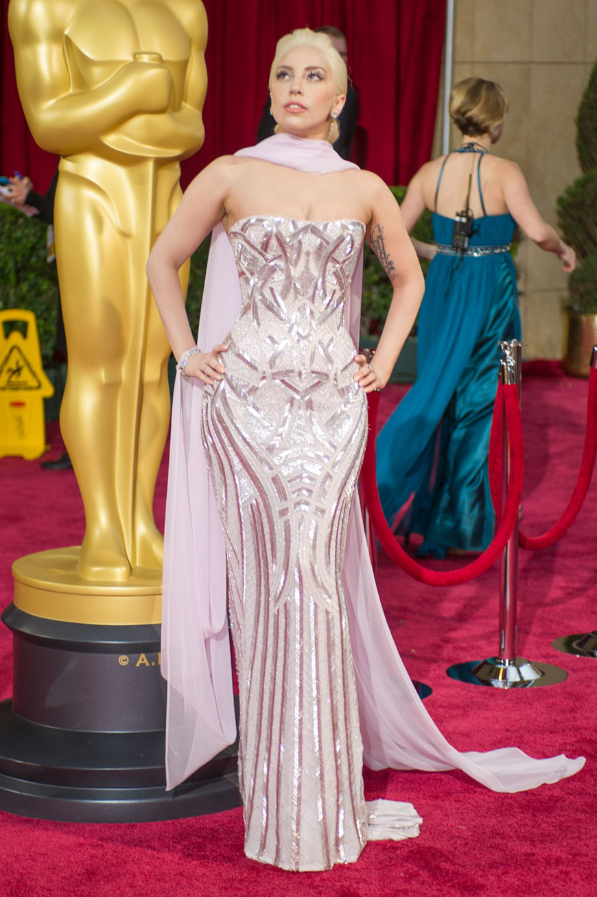 Lady Gaga wearing Atelier Versace at the Oscars