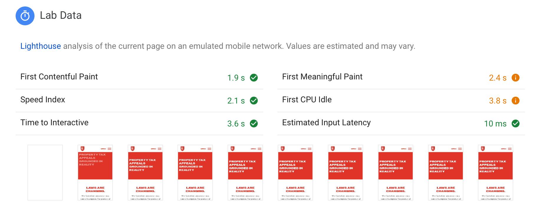 Screenshot of load times
