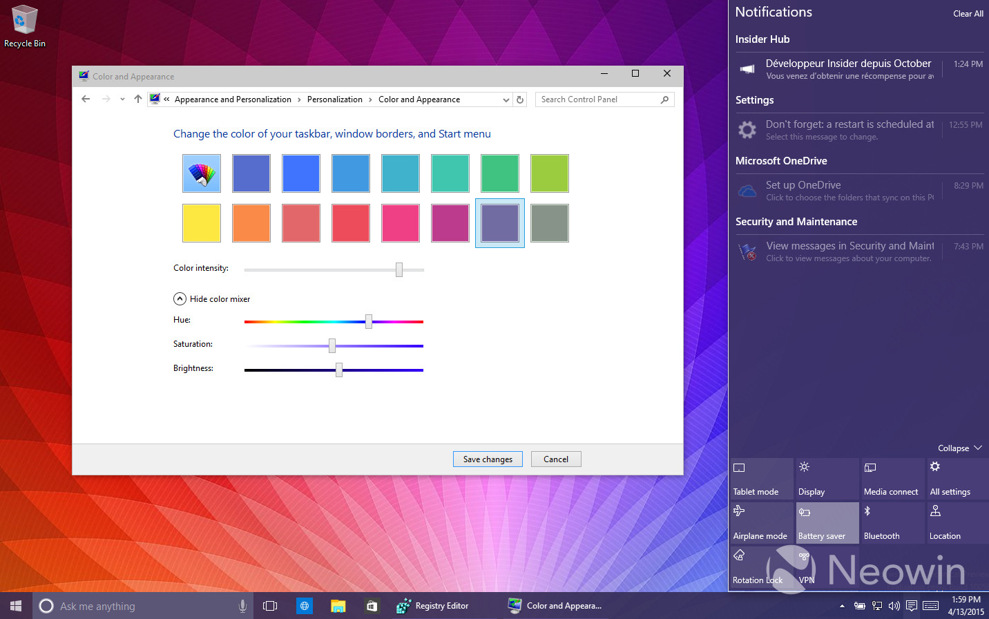 how to get negative colors on windows 8